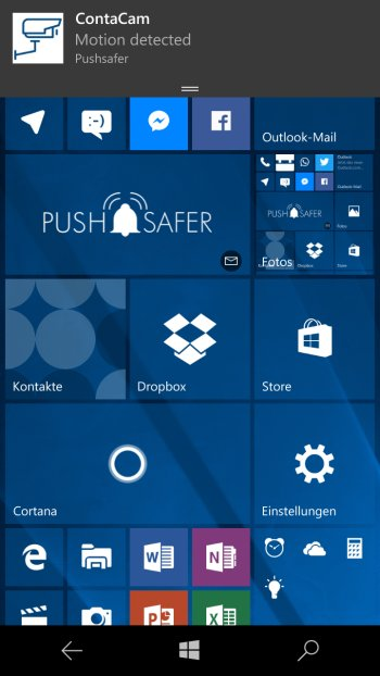 How to send push notifications out of ContaCam Screenshot Windows 10 Phone