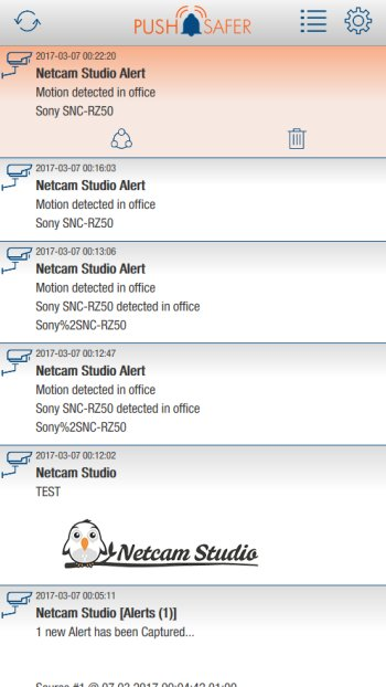 How to send push notifications out of Netcam Studio Screenshot Client App
