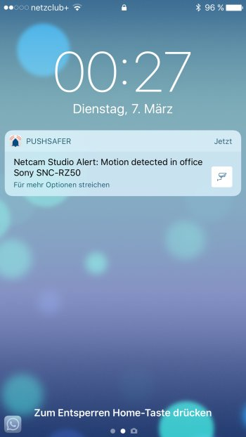 How to send push notifications out of Netcam Studio Screenshot iOS