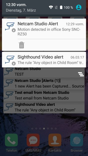 How to send push notifications out of Netcam Studio Screenshot Android