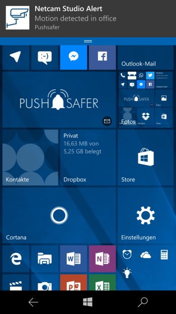 How to send push notifications out of Netcam Studio Screenshot Windows 10 Phone