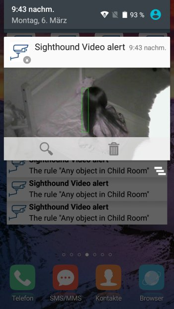 How to send push notifications out of Sighthound Video Screenshot Android