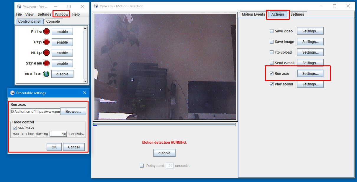 How to send push notifications out of Yawcam open Window Motion Detection