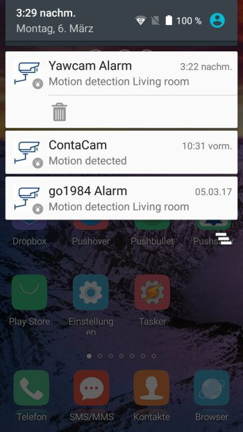 How to send push notifications out of Yawcam Screenshot Android