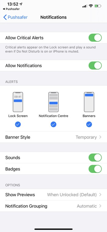 Pushsafer Permissions APP Settings