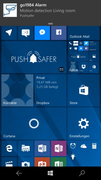 How to send push notifications out of go1984 Screenshot Windows 10 Phone