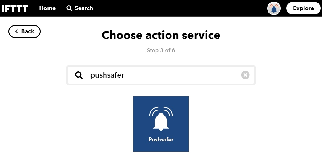 Search and select Pushsafer.comIf not already done, you have to connect to your Pushsafer.com account via a secure OAUTH2 connection. - Pushsafer works with IFTTT