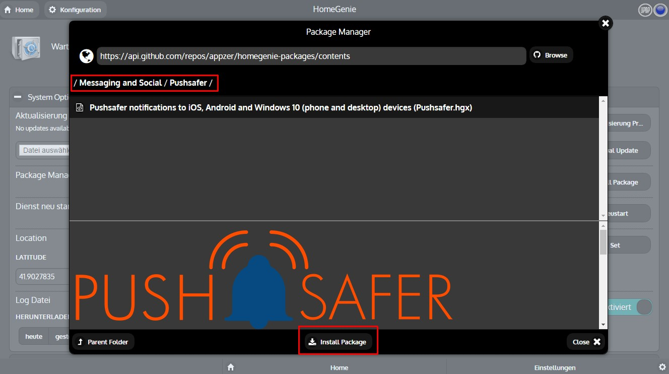 Example HomeGenie - home automation server - Pushsafer - send push